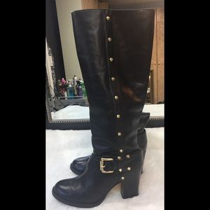 Michael Kors-Carney-Black Leather Studded Boots👌